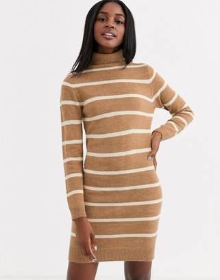 Brave Soul roll neck contrast stripe sweater dress in camel