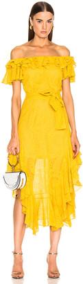 Marissa Webb Sofia Embroidered Dress in Saffron Yellow | FWRD