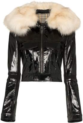 Paco Rabanne patent-finish zip-front jacket