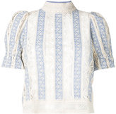 Sea victorian style stripe blouse - women - Cotton - 4