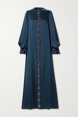 Reem Acra Crystal-embellished Duchesse-satin Gown - Storm blue