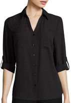 BY AND BY by&by 3/4-Sleeve Button-Front Solid Shirt