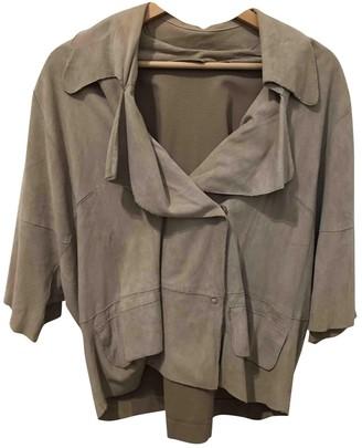 Liviana Conti Ecru Leather Jacket for Women