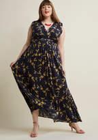 ModCloth Serene Dream Maxi Dress in Navy Blossom in XS - Cap A-line