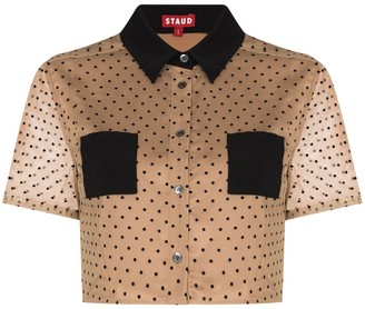 STAUD Hillary polka-dot cropped shirt