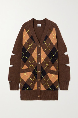 Burberry Oversized Cutout Argyle Wool And Cashmere-blend Cardigan - Brown