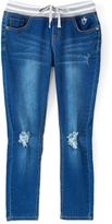 Dollhouse Dark Indigo Stripe-Waistband Super Stretch Jeans - Girls