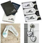H2B Honeymoon Gift Package, Includes: Mr & Mrs Passport Cover, Mr & Mrs Luggage Set, Just Married - Do Not Disturb Door Hanger & Just Married Flip Flops