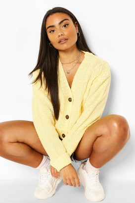 boohoo Cable Knit Crop V Neck Cardigan