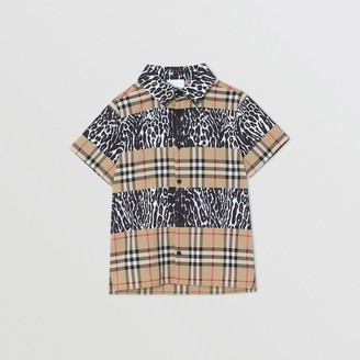 Burberry Short-sleeve Vintage Check and Leopard Print Shirt