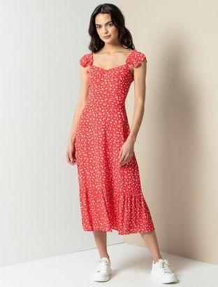 Forever New Hailey Midi Dress - Silhouette Red Ditsy - 10