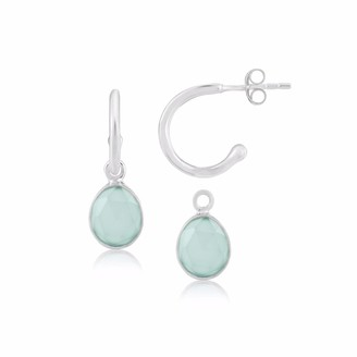 Auree Jewellery Manhattan Sterling Silver & Aqua Chalcedony Interchangeable Gemstone Hoop Earrings