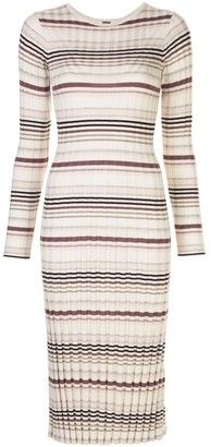 Adam Lippes Striped Long Sleeve Dress