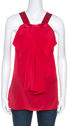 Prabal Gurung Red Silk Draped Bow Detail Sleeveless Top L