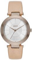 DKNY Stanhope Beige Leather Strap Watch, NY2459
