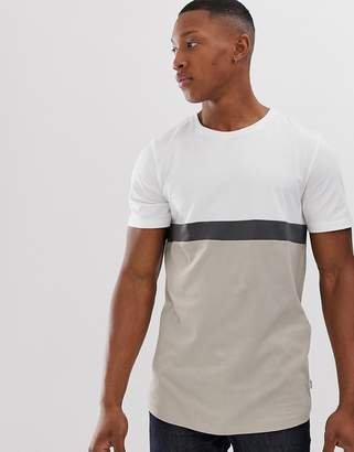 Jack and Jones colour block stripe t-shirt in stone-Beige