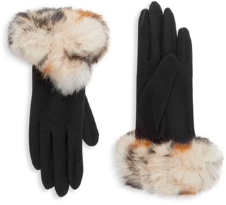 Carolina Amato Rabbit Fur-Trim Gloves