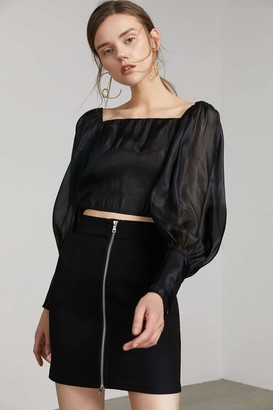 J.ING Beatrice Black Puff Sleeve Top