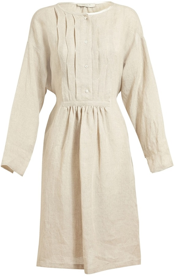 Jenny M Pleated Linen Dress