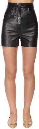 Salvatore Ferragamo High Waist Leather Shorts