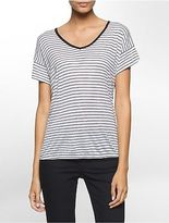 Calvin Klein Womens Stripe V-Neck Cuffed Short Sleeve Top