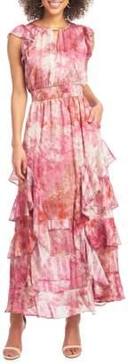 Rachel Roy Printed Ruffled Maxi Dress