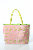 Rafe New York Pink Green Canvas Floral Embroidered Satchel Handbag