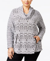 Style&Co. Style & Co. Plus Size Cowl-Neck Jacquard Top, Only at Macy's