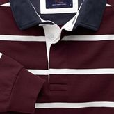 Charles Tyrwhitt Wine and white stripe long sleeve rugby shirt
