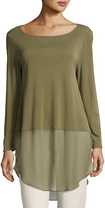Eileen Fisher Long-Sleeve Silk Jersey Tunic w/ Sheer Layer