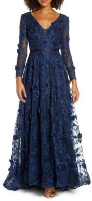 Mac Duggal Long Sleeve Floral Applique Mesh Gown