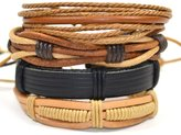 Tag Twenty Two 4 Pack Leather and Cord Fashion Bracelet Set in and Beige / Elucidator