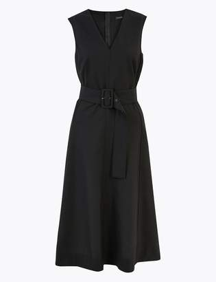 AutographMarks and Spencer Wool Blend Belted Fit & Flare Midi Dress
