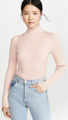 525 America Metallic Rib Puff Sleeve Sweater