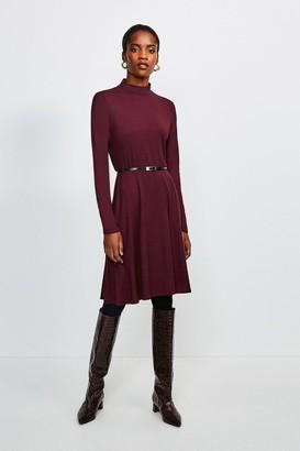 Karen Millen Long Sleeve Funnel Neck Viscose Jersey Dress