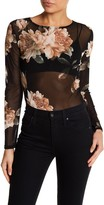 Blvd Mesh Floral Long Sleeve Bodysuit