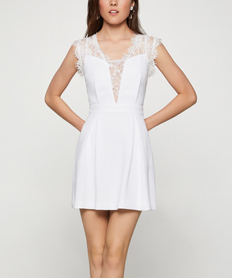 BCBGeneration Women's Casual Dresses OPTIC - Optic White Lace-Inset A-Line Dress - Women