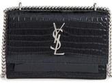 Saint Laurent Mini Monogram Sunset Croc Embossed Leather Shoulder Bag
