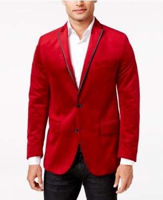 INC International Concepts Men's Rex Classic-Fit Velvet Blazer, Created for Macy's