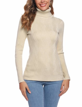 Aibrou Womens Jumper Black Turtle Neck Long Sleeve Soft Knit Ribbed Sweater Jumper Knitwear Tops