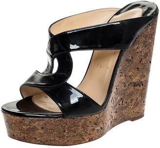 Christian Louboutin Black Twist Patent Leather Cork Platform Wedge Sandals Size 39.5