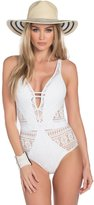 Becca by Rebecca Virtue Becca Women's Color Play Deep V Neck One Piece Swimsuit-S