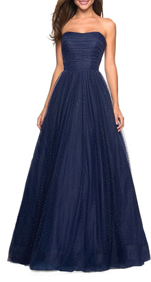 La Femme Strapless Tulle Ball Gown with Scattered Rhinestones