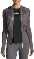 Stella McCartney Run Engineered Knit Track Jacket, Gray