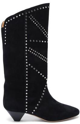 Isabel Marant Darka Studded Cone-heel Suede Boots - Black