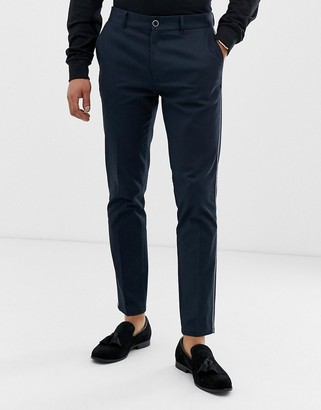 Burton Menswear chinos in navy with side piping