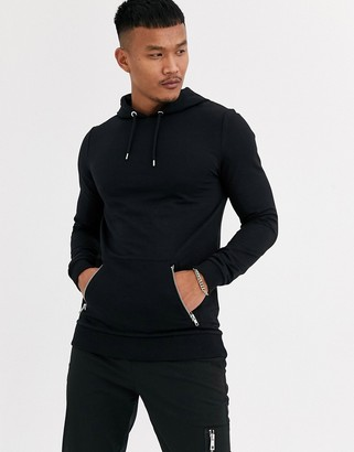 Asos Design DESIGN muscle hoodie in black with gold zip pockets