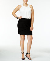 B. Darlin Juniors' Plus Size Colorblocked Bodycon Dress