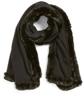 Badgley Mischka Women's Faux Fur Trim Wrap