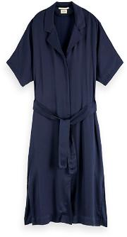 Maison Scotch Midnight Blue Midi Shirt Dress - XS (8)